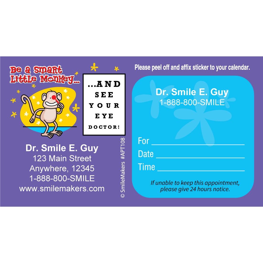 Custom Monkey Eye Chart Sticker Appointment Cards [image]