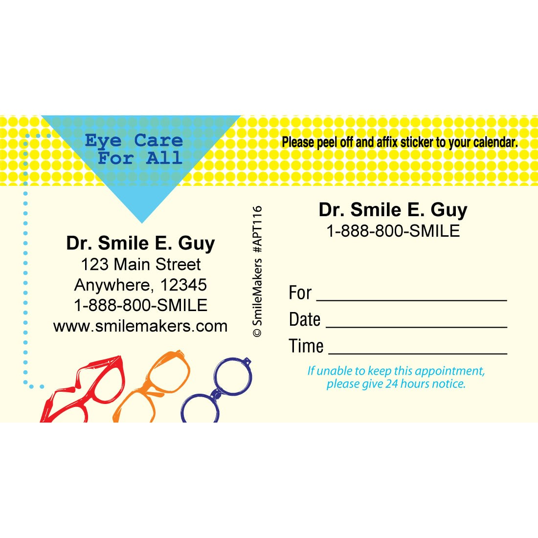 custom eye care for all sticker appointment cards - Appointment Cards