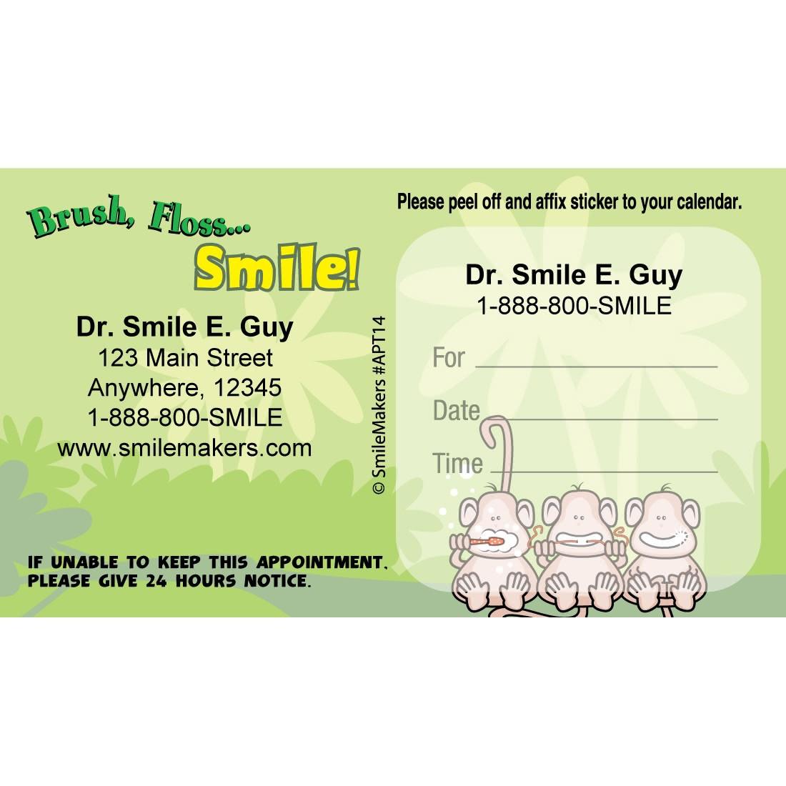 Custom BrushFlossSmile Monkey Appointment Cards [image]