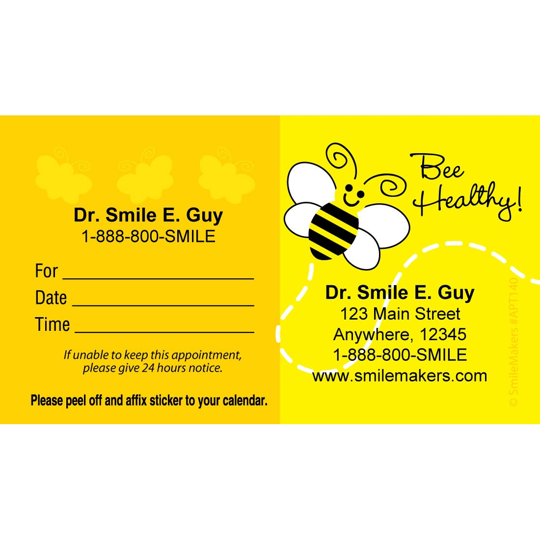 Custom Bee Healthy Appointment Cards [image]