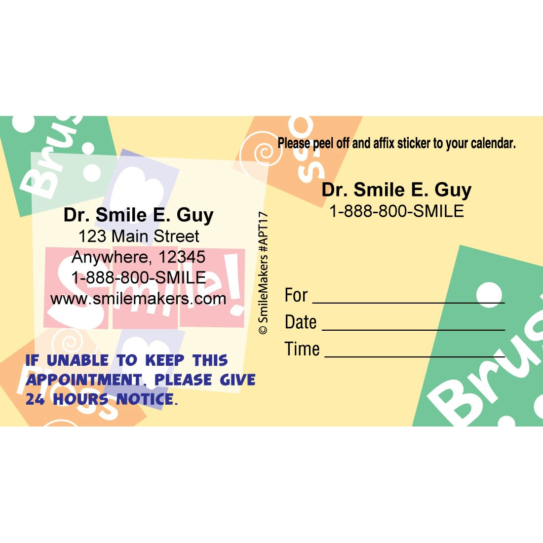Custom Brush, Floss, Smile Appointment Cards [image]