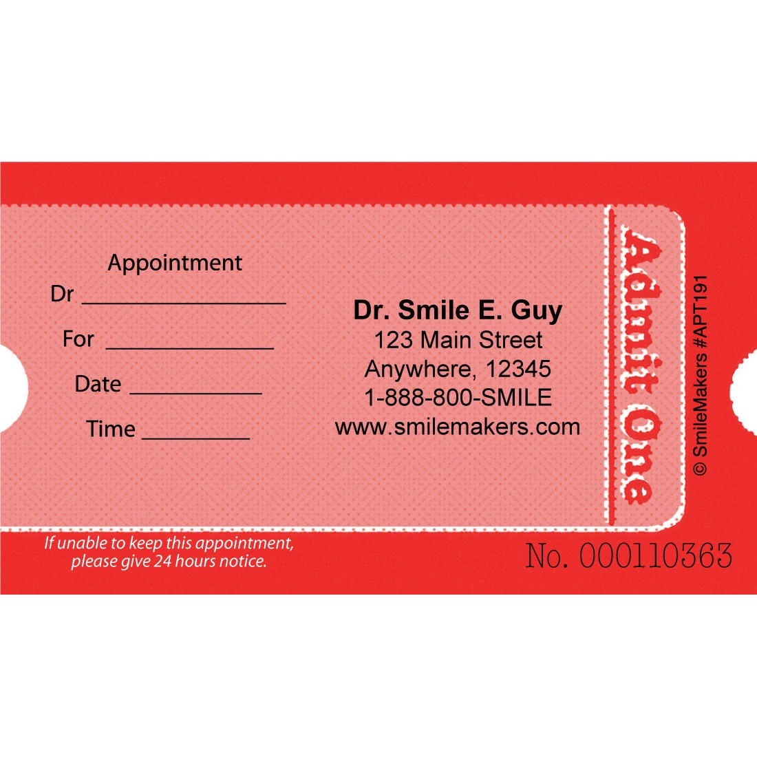 Custom Admit One Ticket Appointment Cards [image]