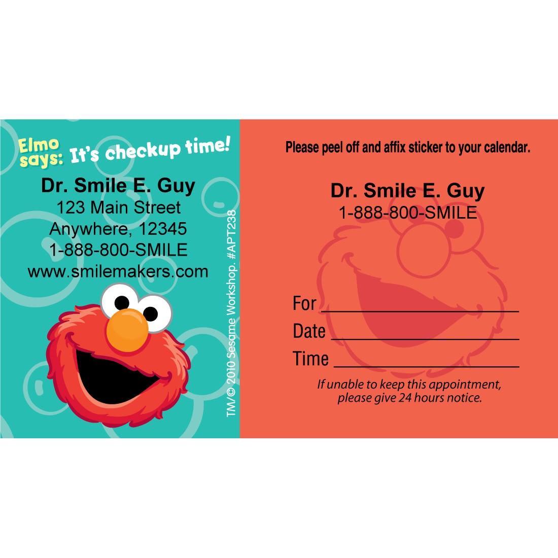 Custom Elmo Sticker Appointment Cards [image]