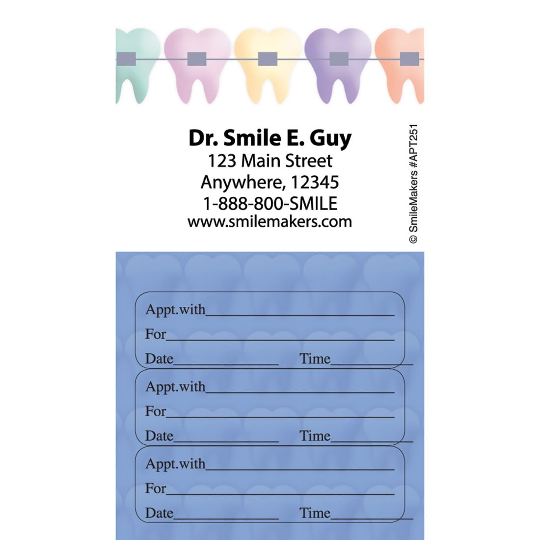 Captivating Custom Color Braces Three Sticker Appointment Card