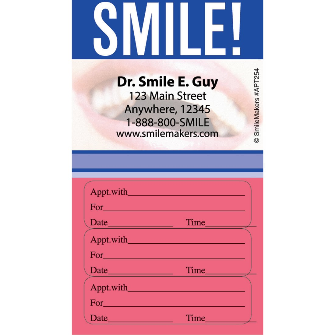 Custom Smile Three Sticker Appointment Cards [image]