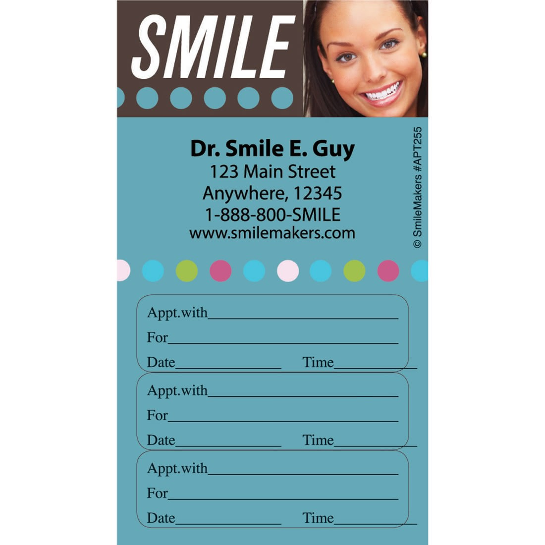 Custom Smile Dots Three Sticker Appointment Cards [image]
