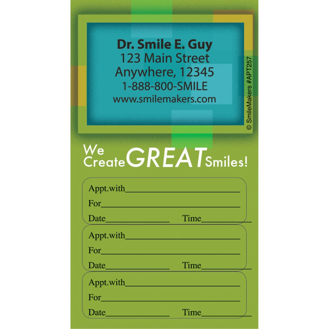 Custom Great Smiles Three Sticker Appointment Card [image]