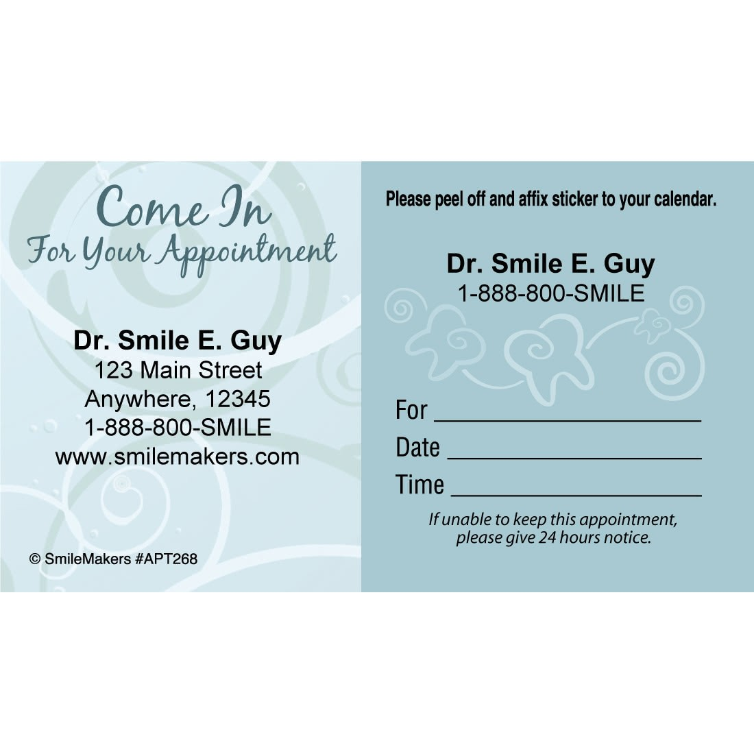 Custom Come In Swirls Sticker Appointment Cards [image]