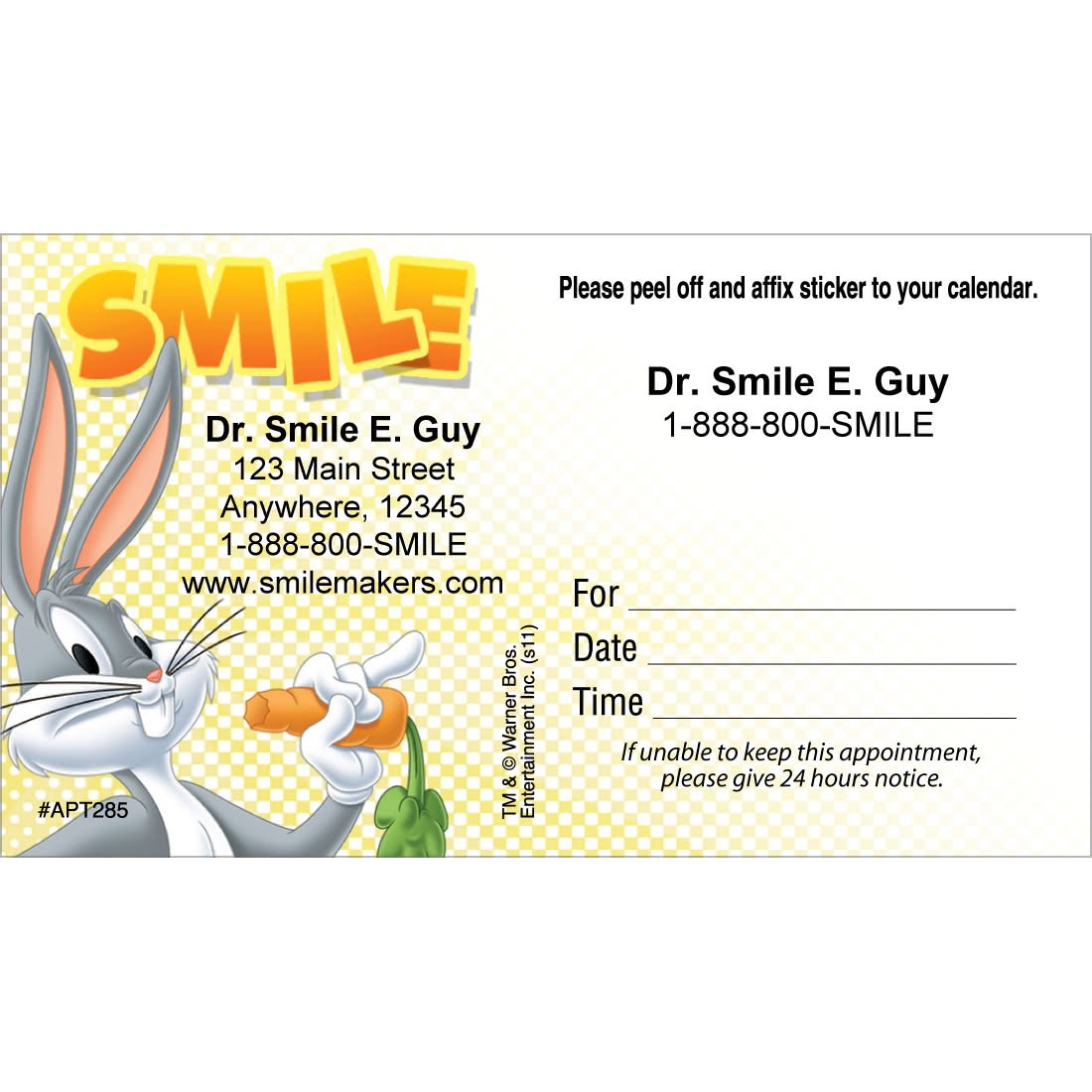 Custom Bugs Bunny Smile Sticker Appointment Cards [image]