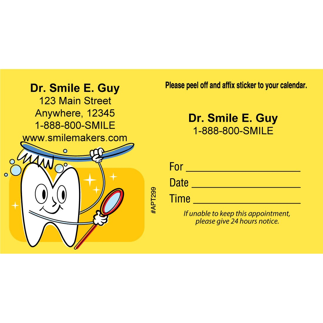 Custom Brushing Tooth Appointment Cards [image]