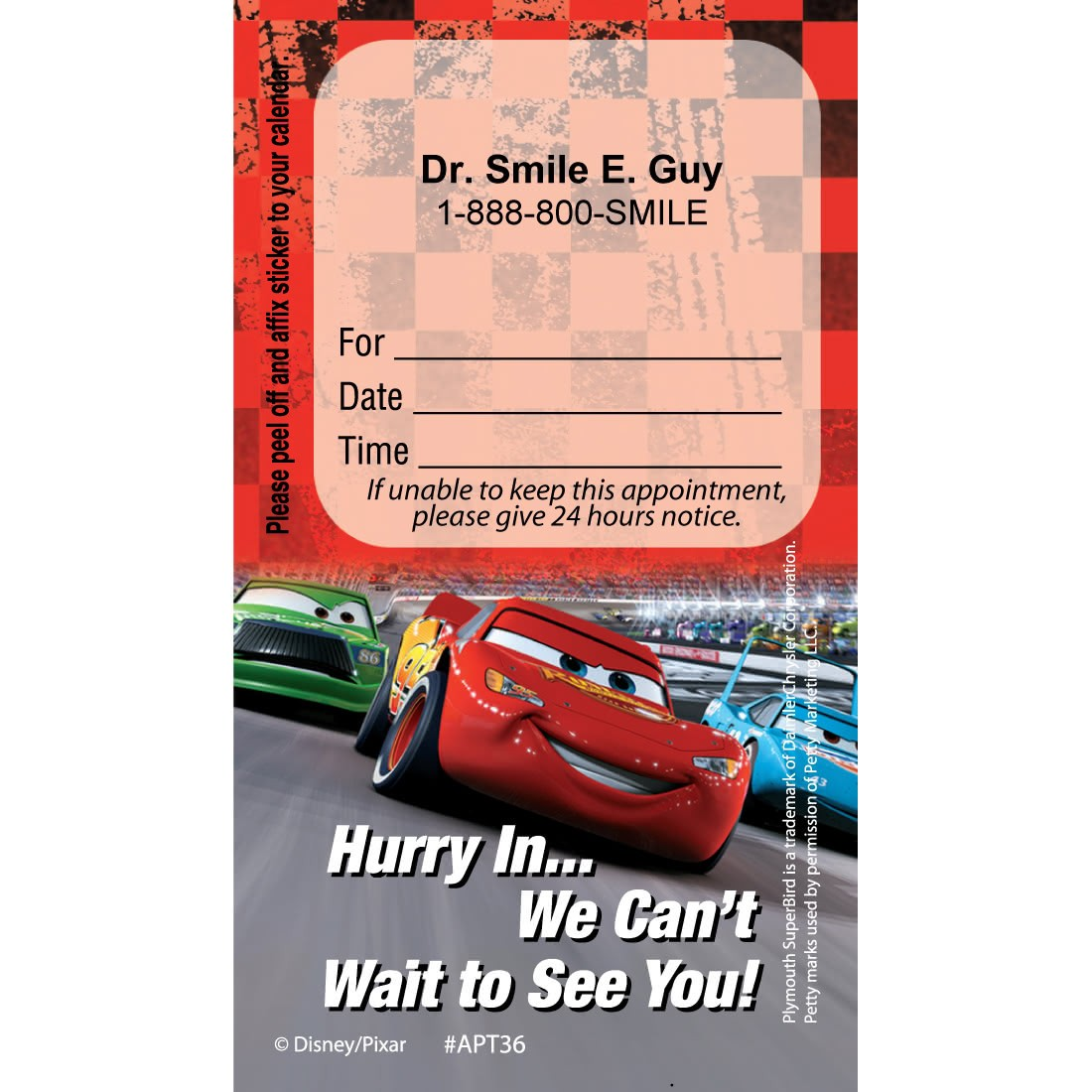 Custom Disney Cars Dental Team Appointment Cards [image]