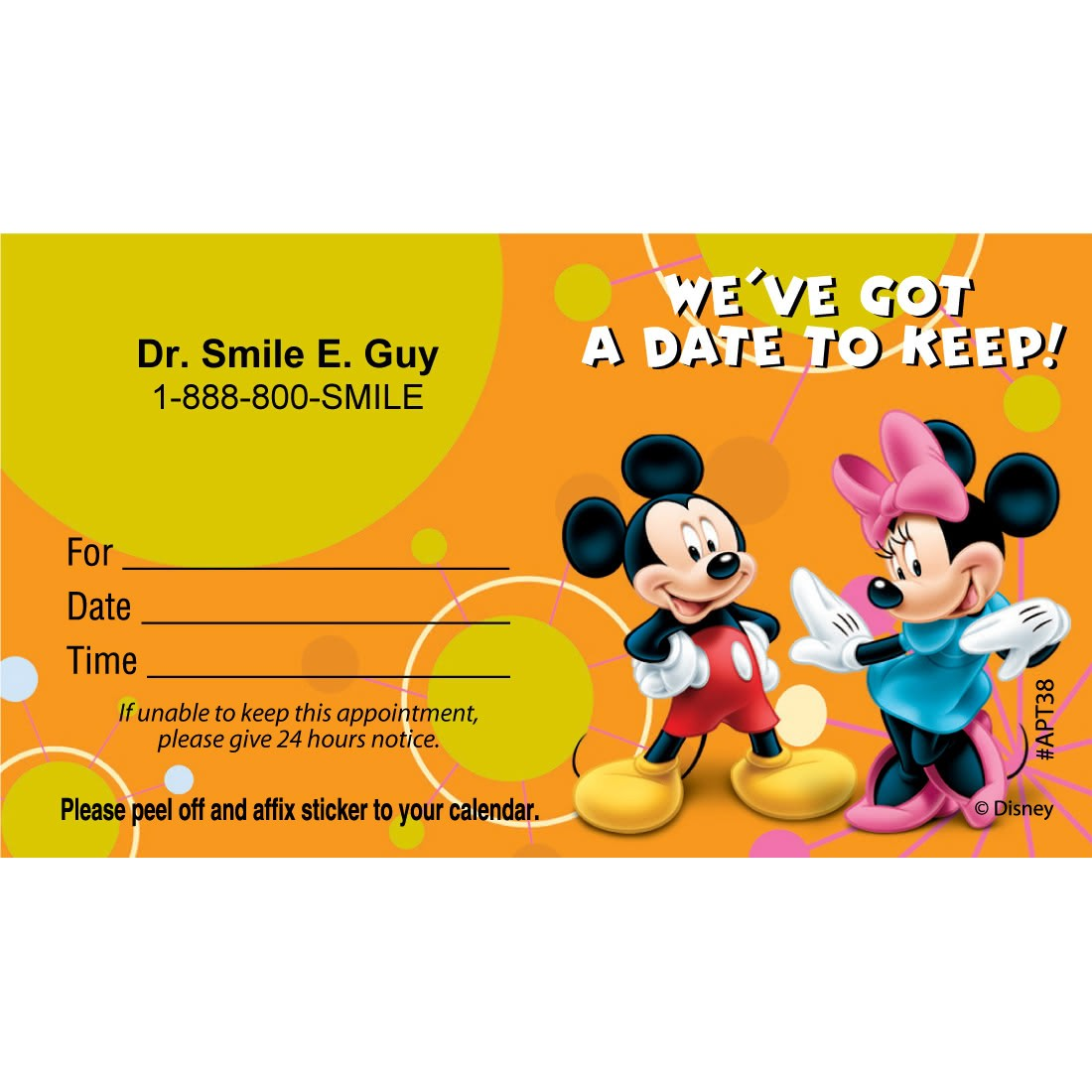 Custom Mickey Mouse & Minnie Mouse Date Appointment Cards [image]