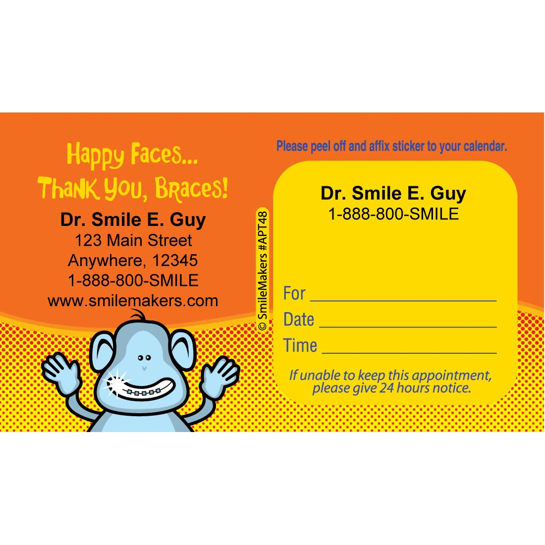 Custom Braces Monkey Appointment Cards [image]