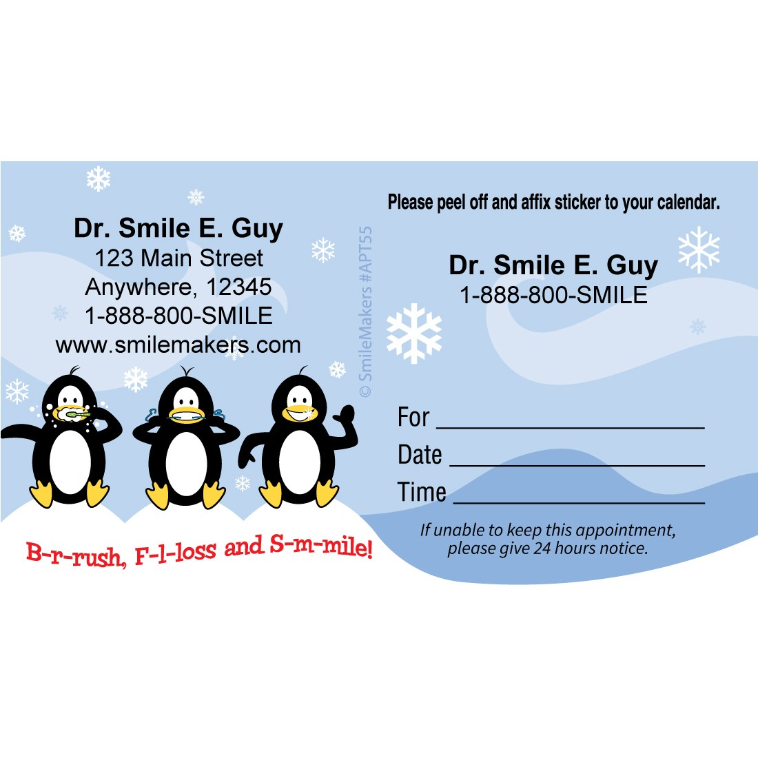 Custom BrushFlossSmile Penguins Appointment Cards [image]