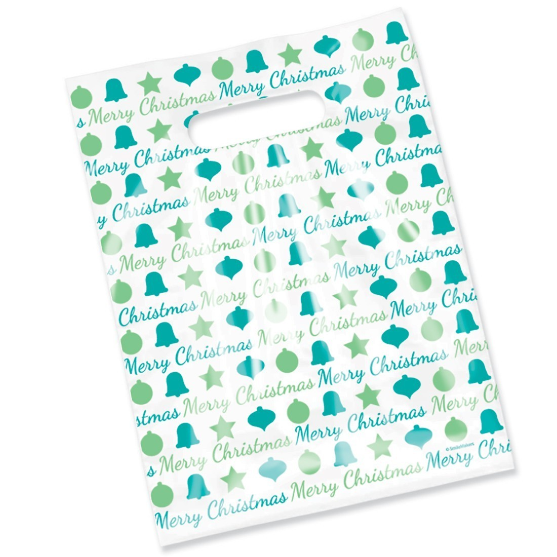 100 Scatter Merry Christmas Blue & Green Bags - SmileMakers