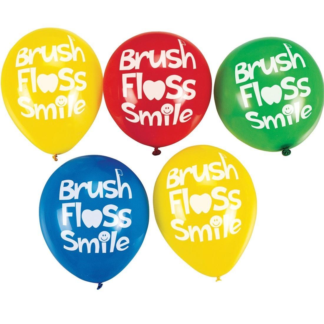Brush, Floss, Smile Latex Balloons [image]