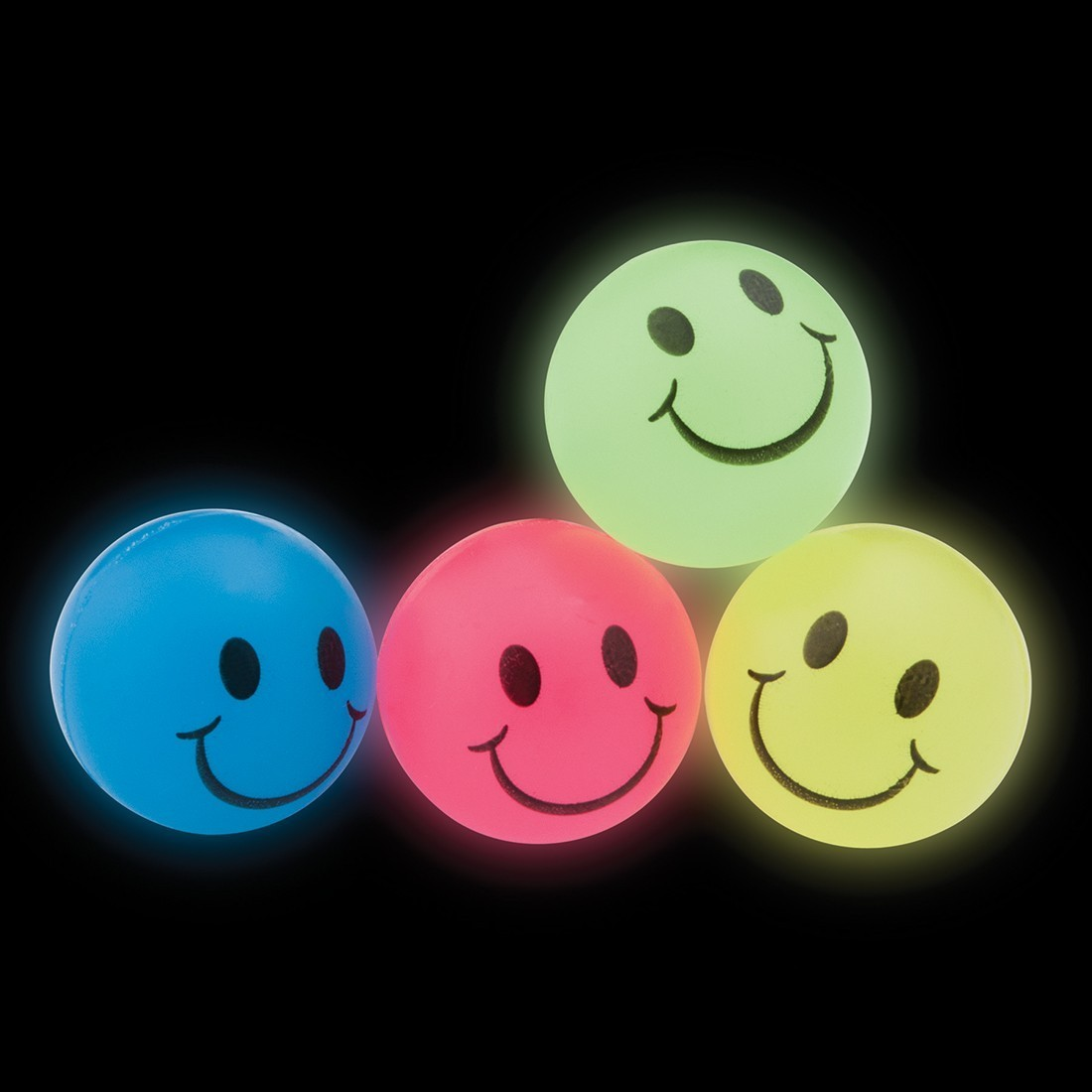 30mm Glow in the Dark Smiley Face Bouncing Balls [image]
