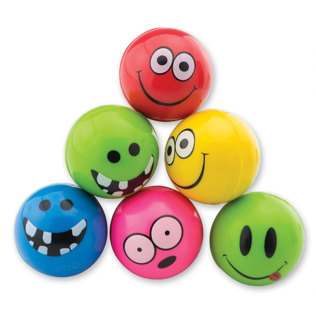 29mm Funny Smiley Face Neon Bouncing Balls [image]