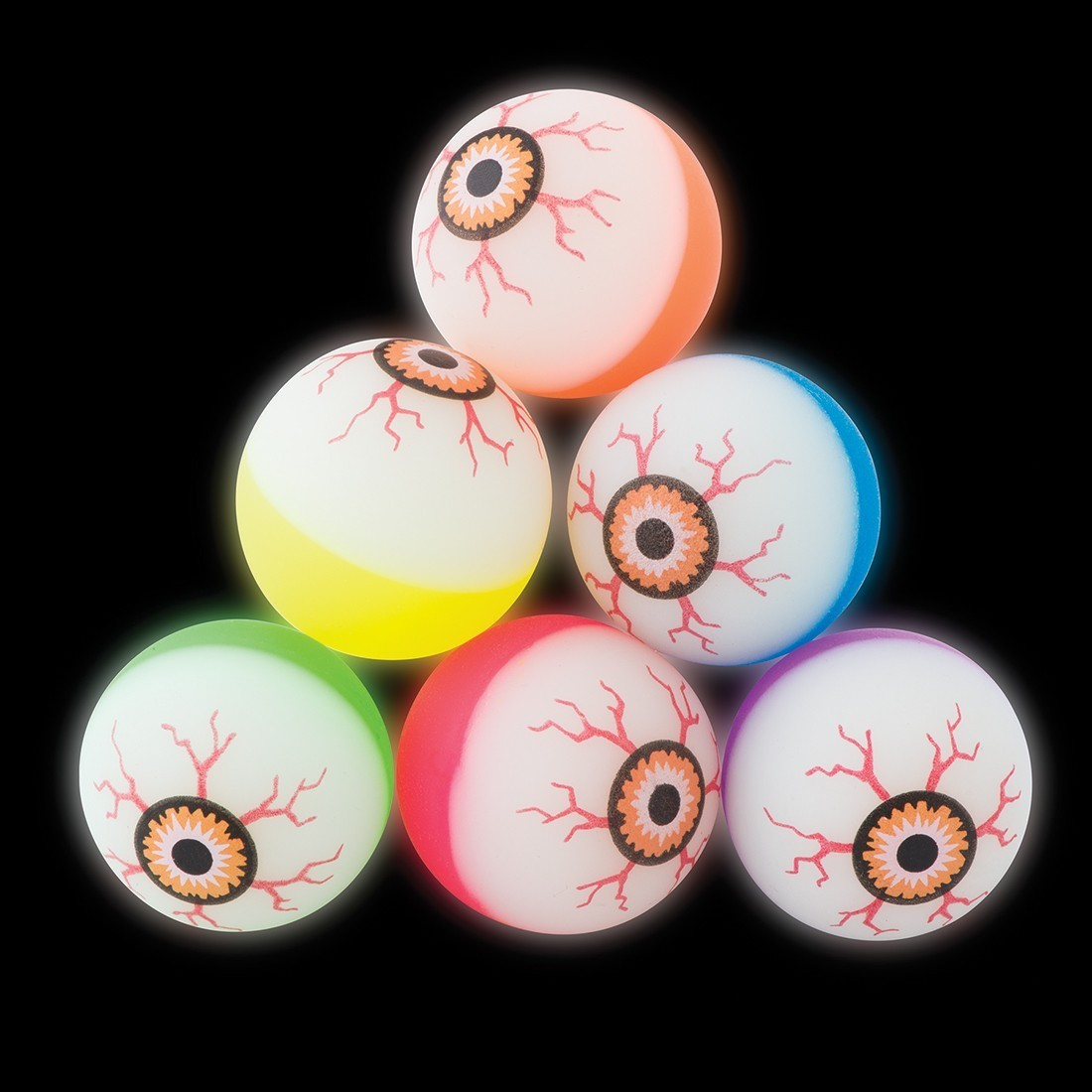 29mm Two-Tone Glow-in-the-Dark Eyeball Bouncing Balls [image]