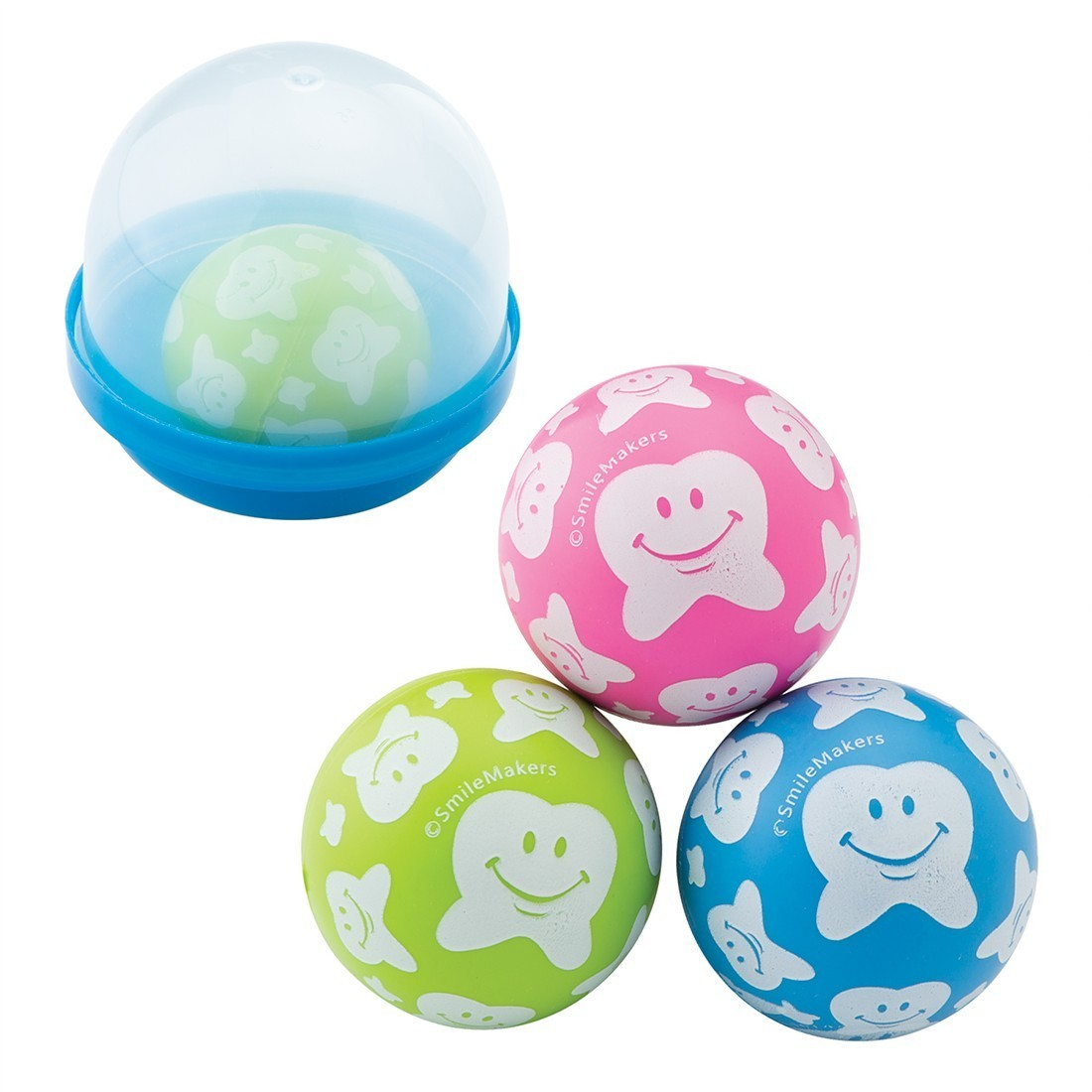 30mm Happy Tooth Bouncing Balls in 2'' Capsules [image]