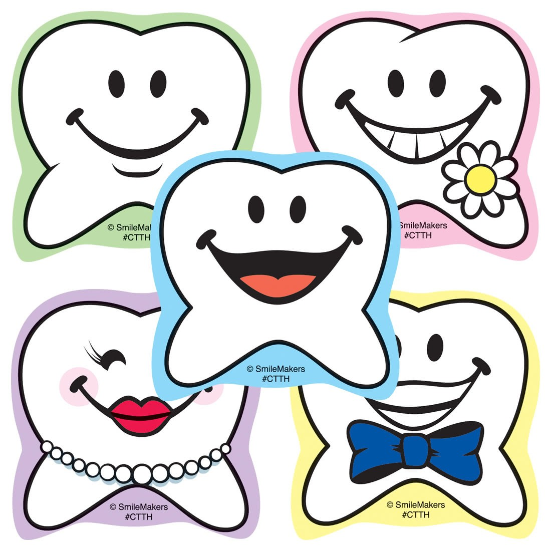 Happy Tooth Shaped Stickers                        [image]