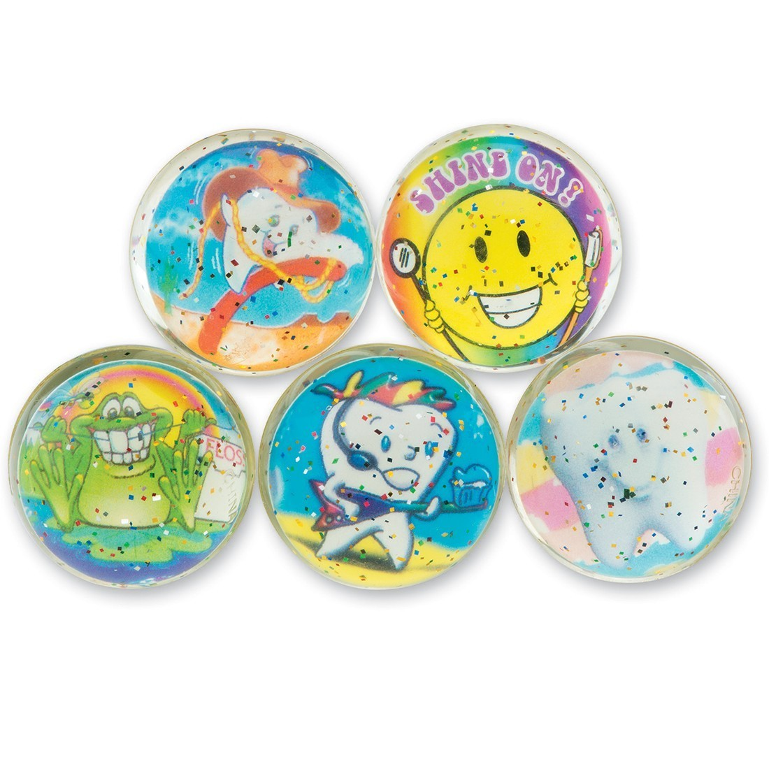 32mm Glitter Silly Smiles Dental Bouncing Balls [image]
