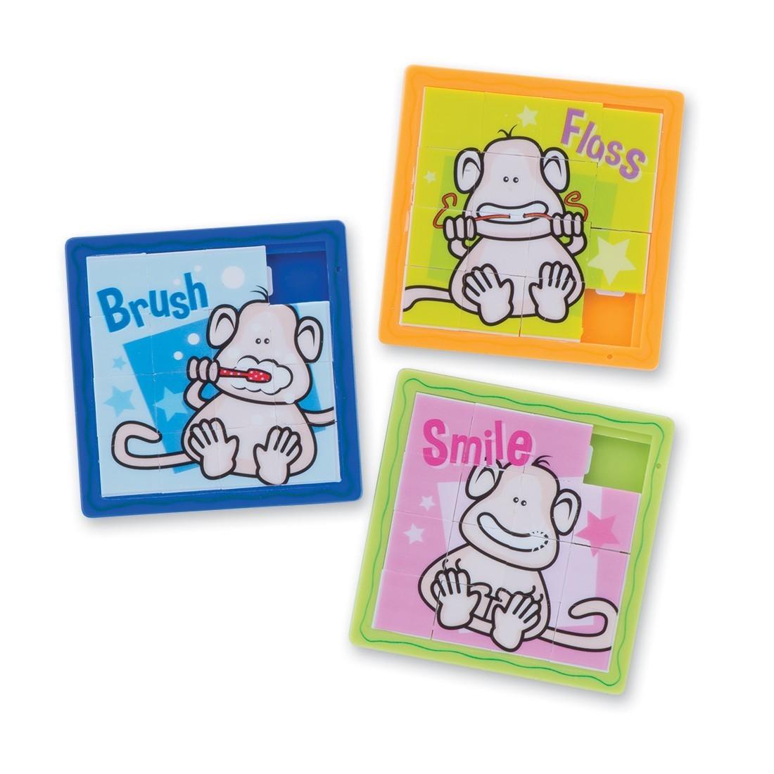 Brush, Floss, Smile Monkey Slide Puzzles [image]