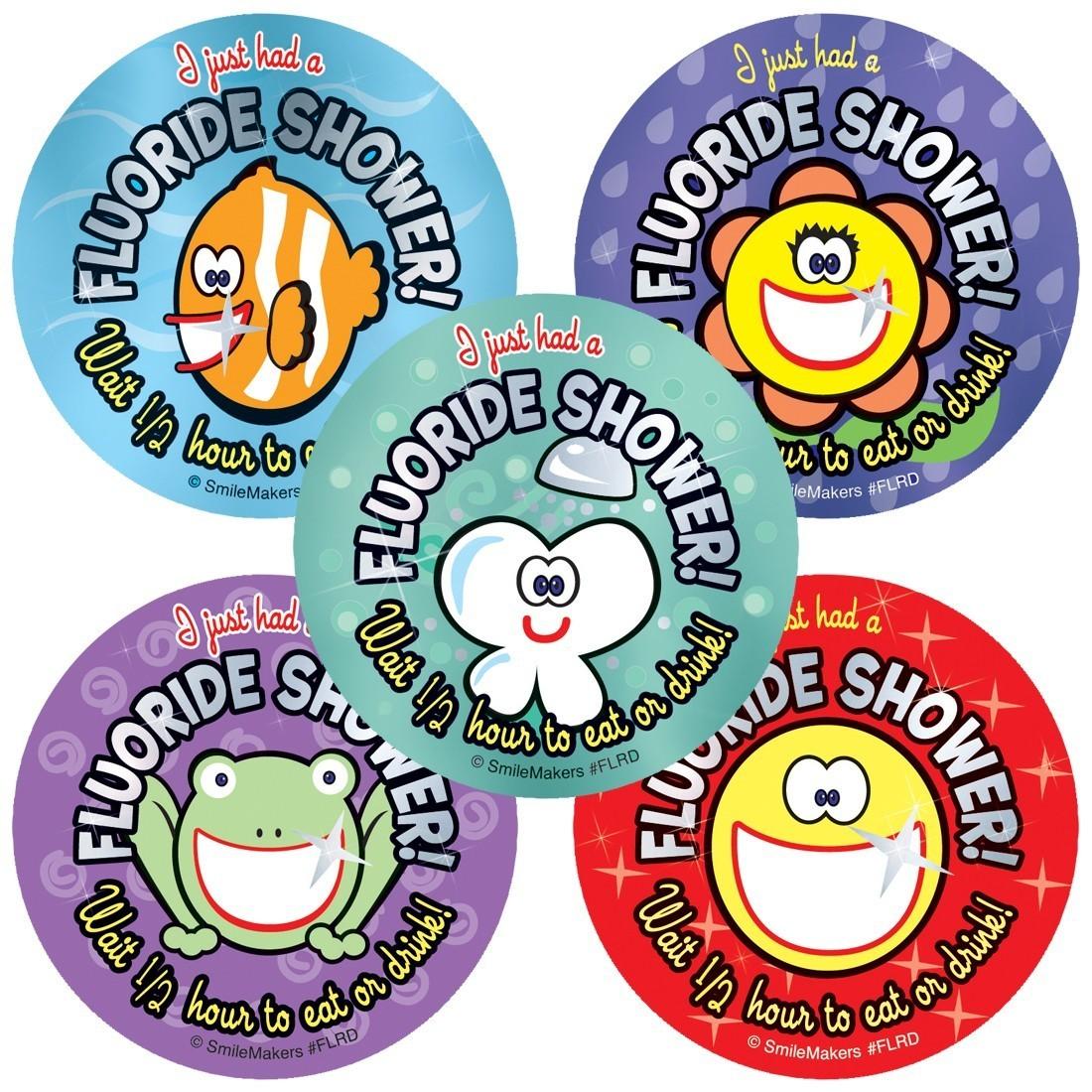Foil Fluoride Shower Stickers                      [image]