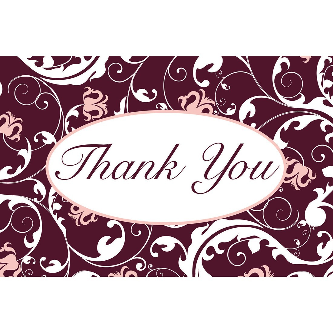 Thank You Pink Brown Greeting Cards With Envelopes Standard