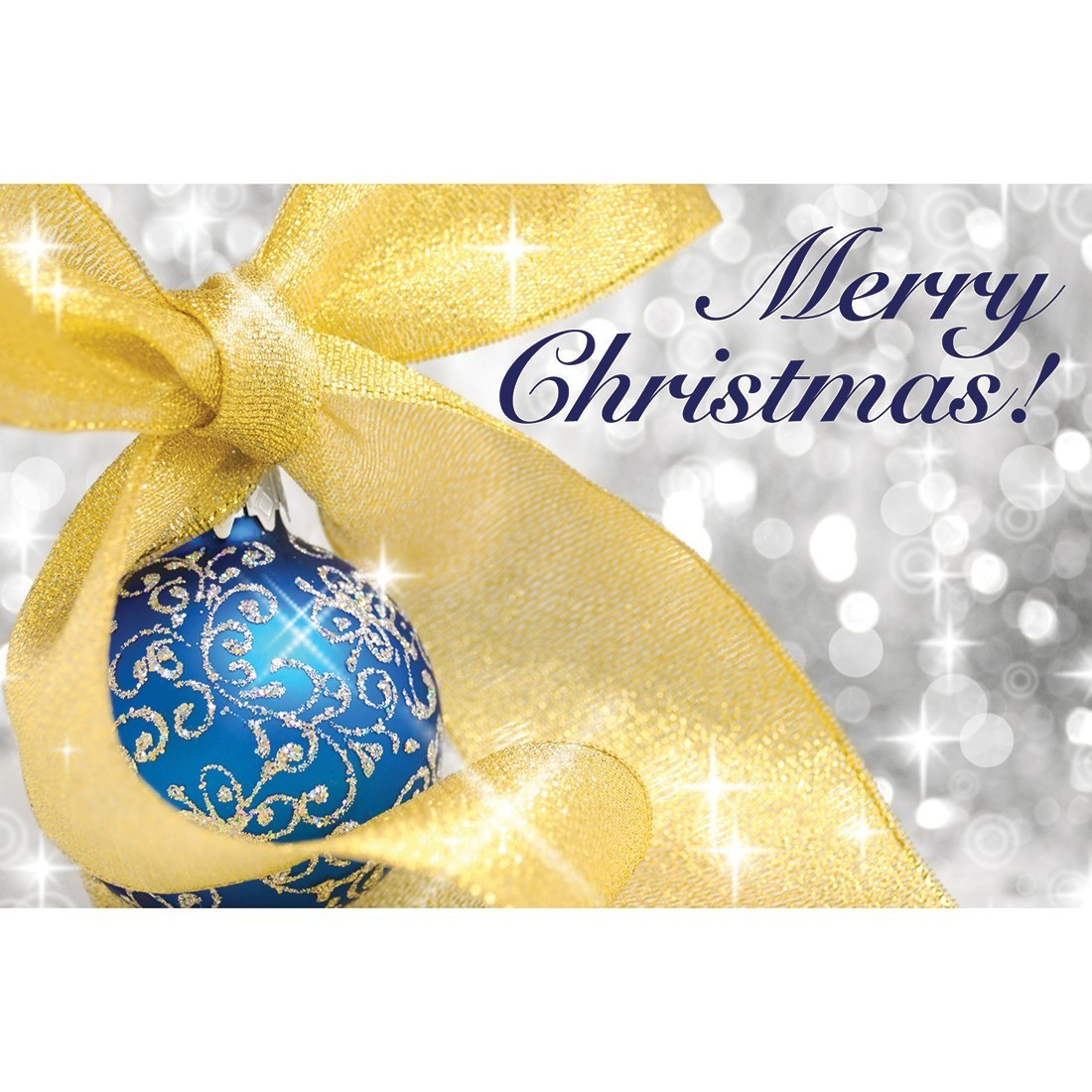 Gold Ribbon Merry Christmas Greeting Cards [image]