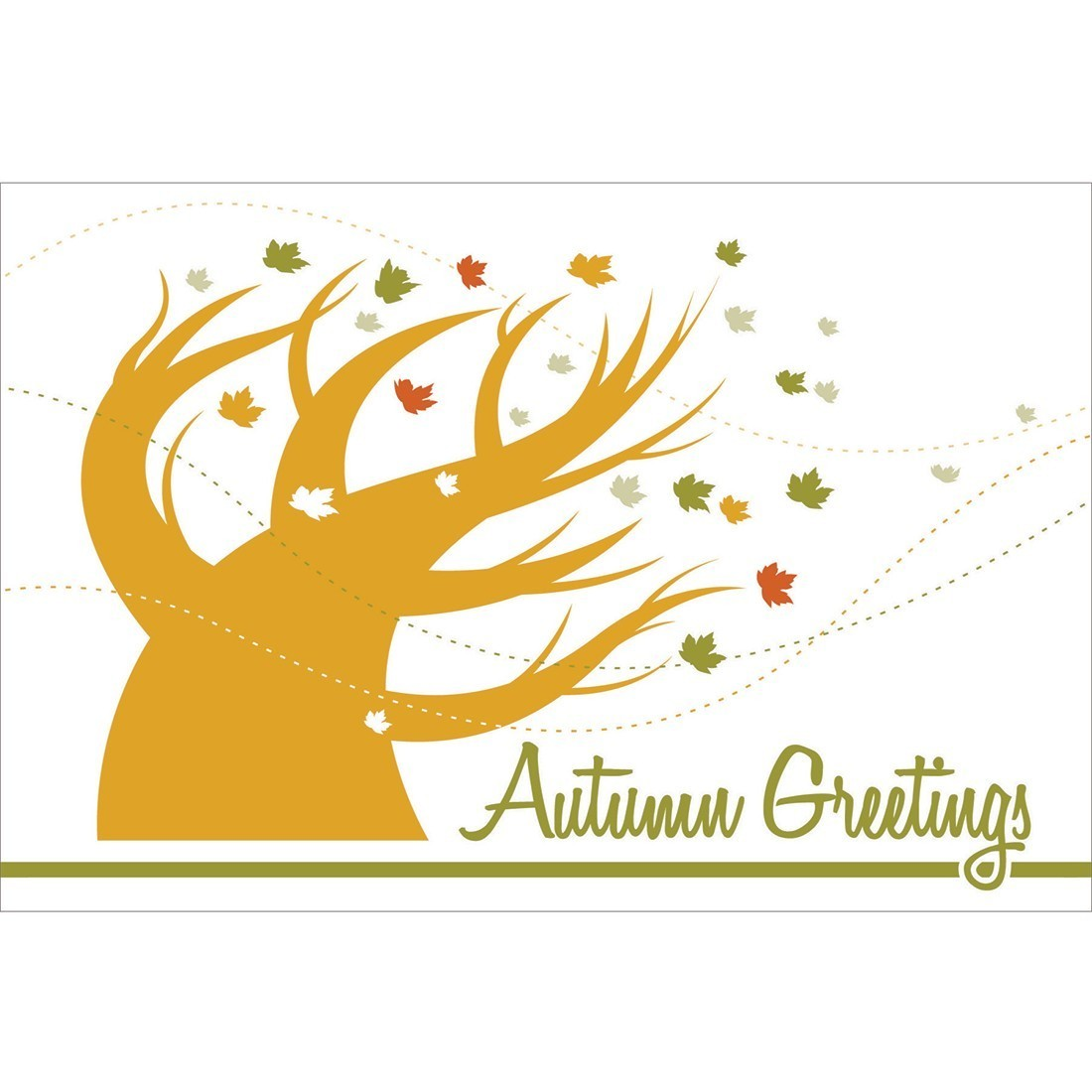 Autumn Greetings Blowing Tree Greeting Cards [image]