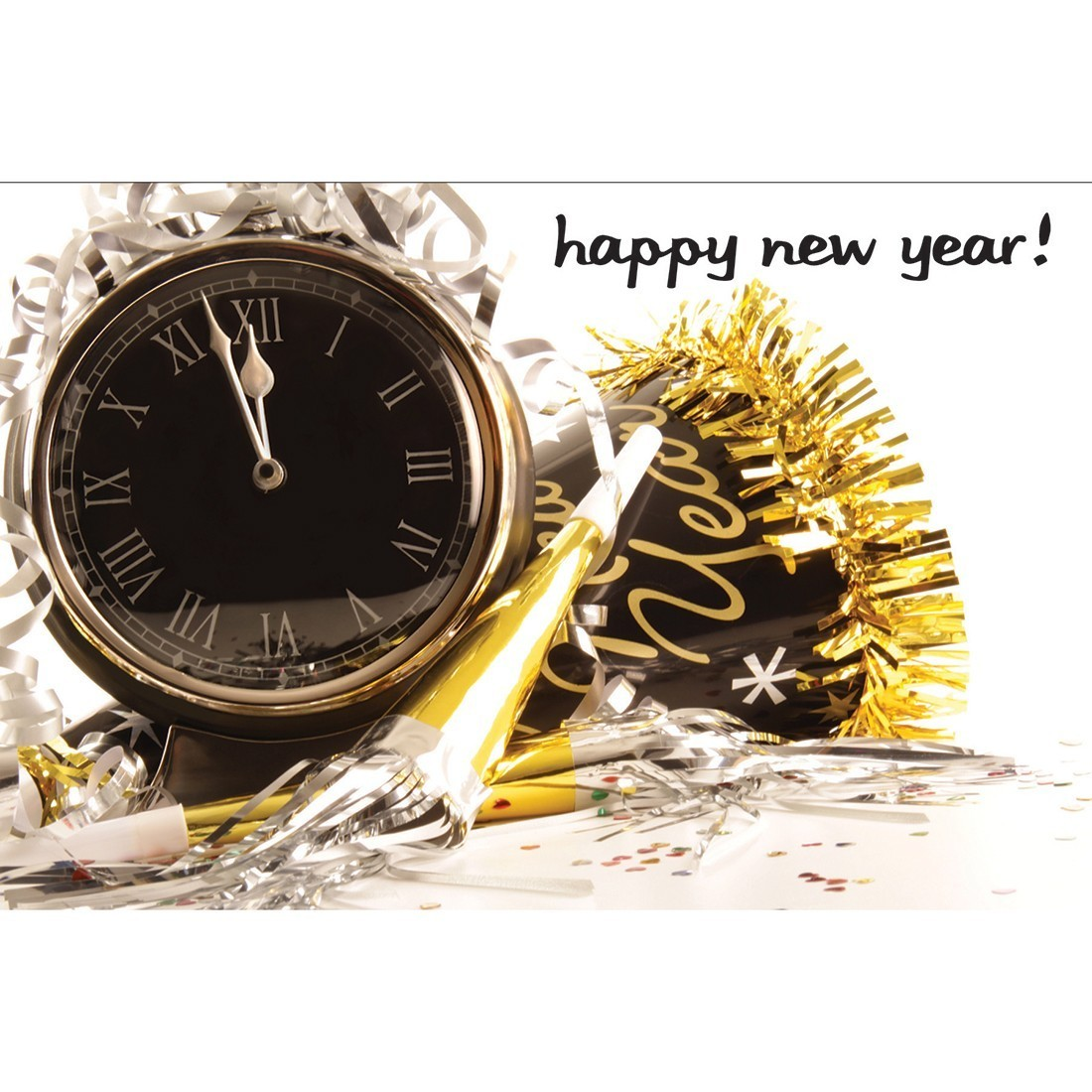 Happy New Years Clock Greeting Cards [image]