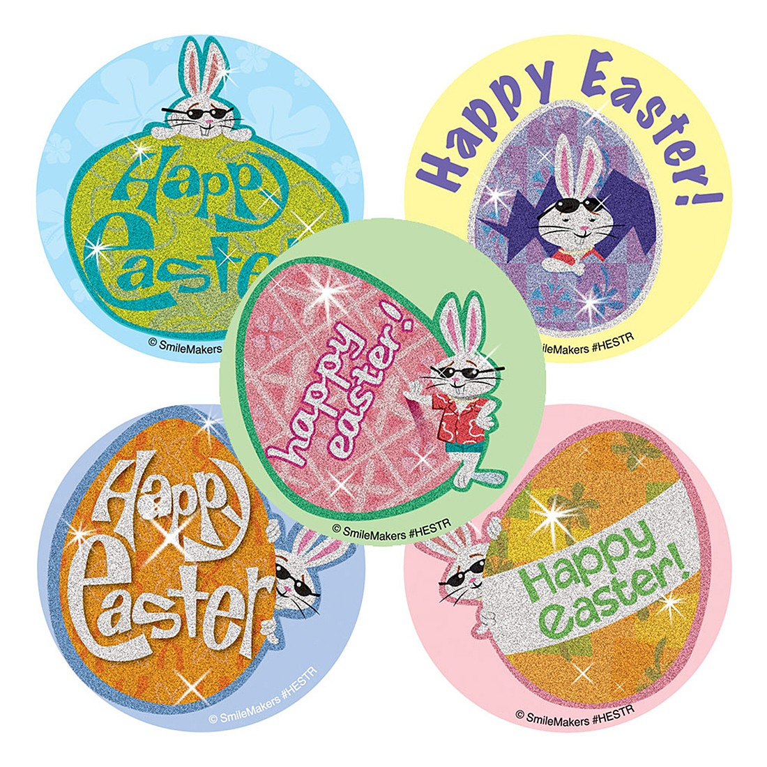 Glitter Happy Easter Stickers                      [image]