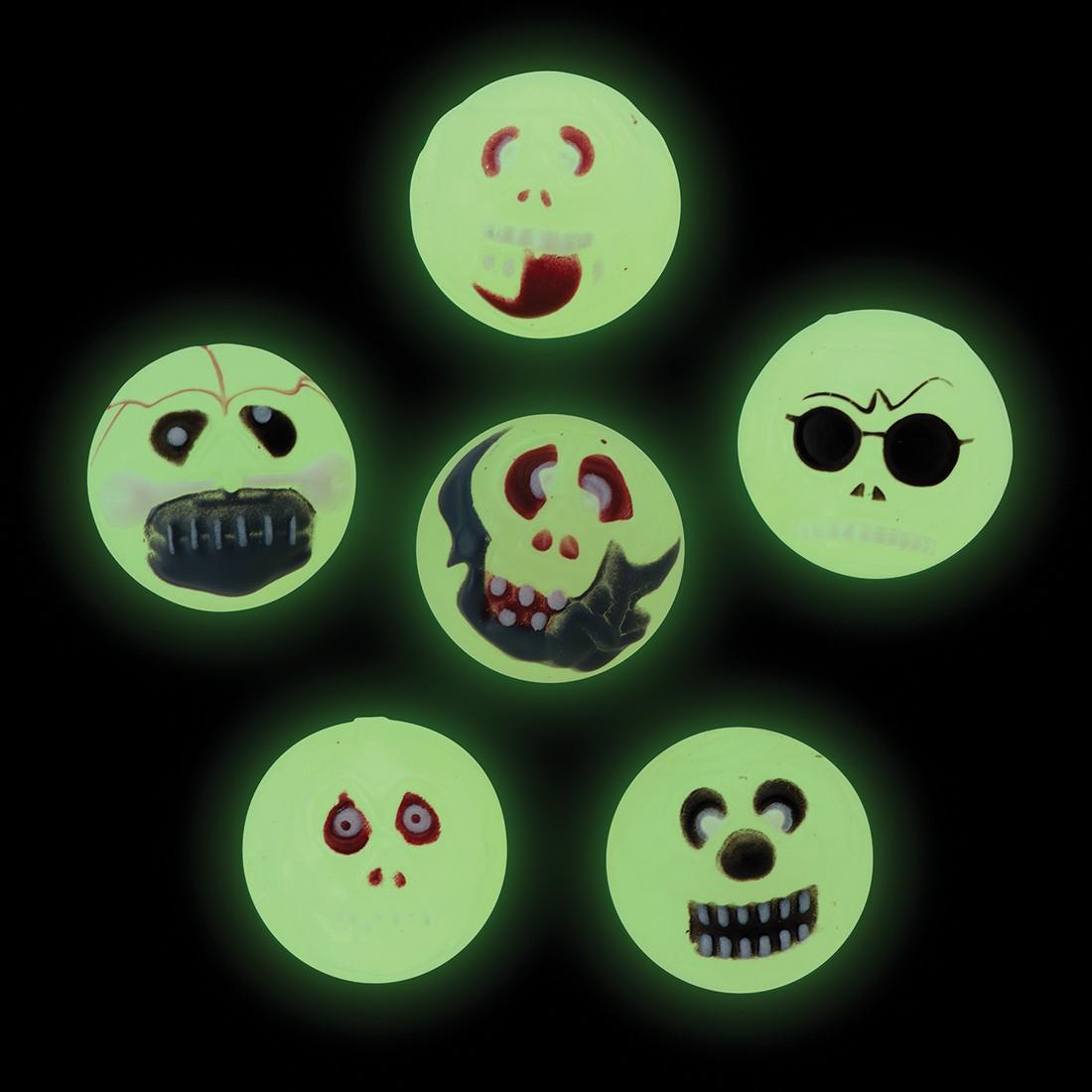 31mm Glow in the Dark Skull Bouncing Balls [image]