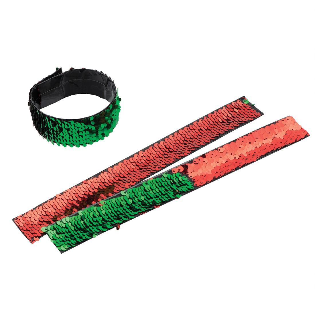 Christmas Reversible Sequin Slap Bracelets [image]