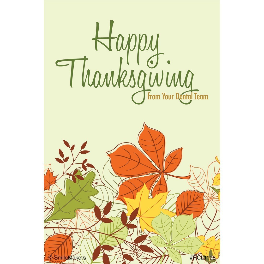Happy Thanksgiving Dental Recall Cards [image]