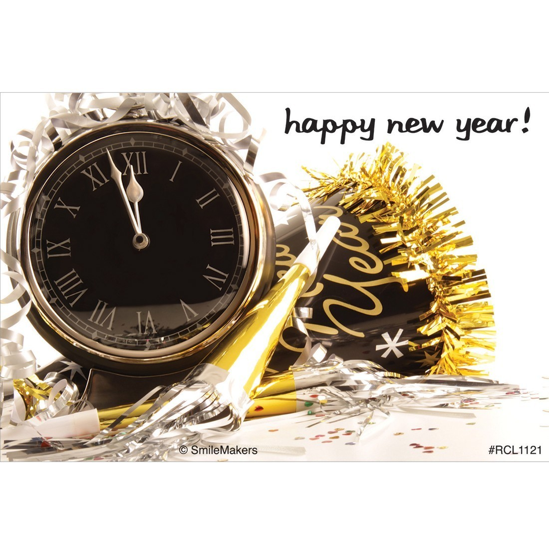 Happy New Year Clock Recall Cards [image]