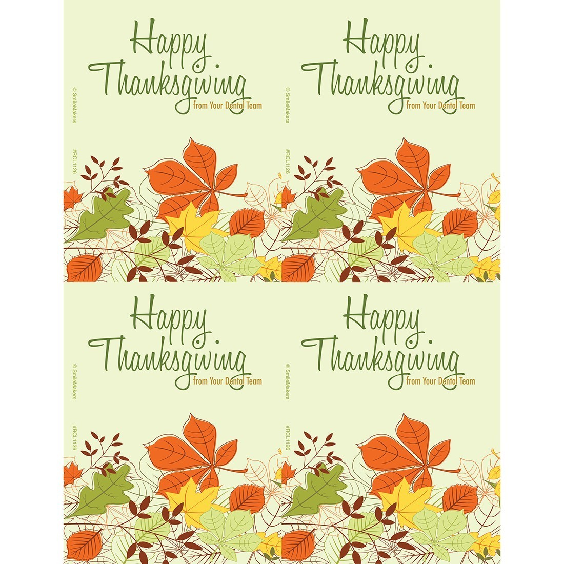 Happy Thanksgiving Dental Laser Cards [image]