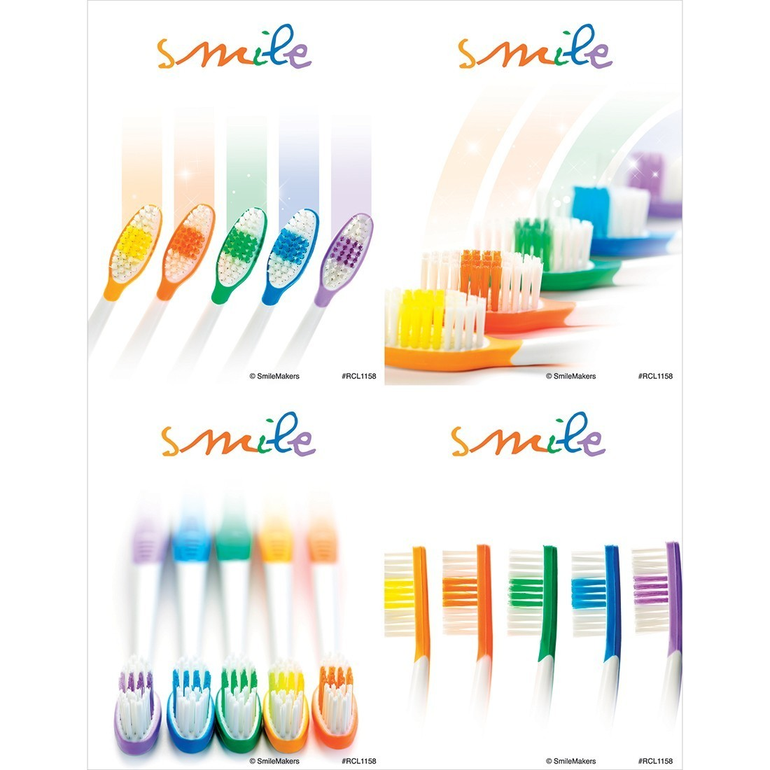 Smile Rainbow Toothbrushes Laser Cards [image]
