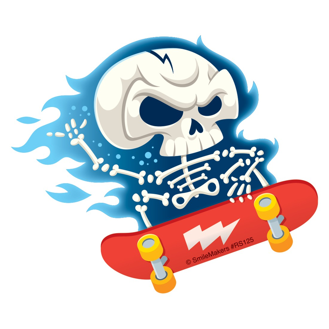 Skeleton Skateboarding Re-Stickable Stickers [image]