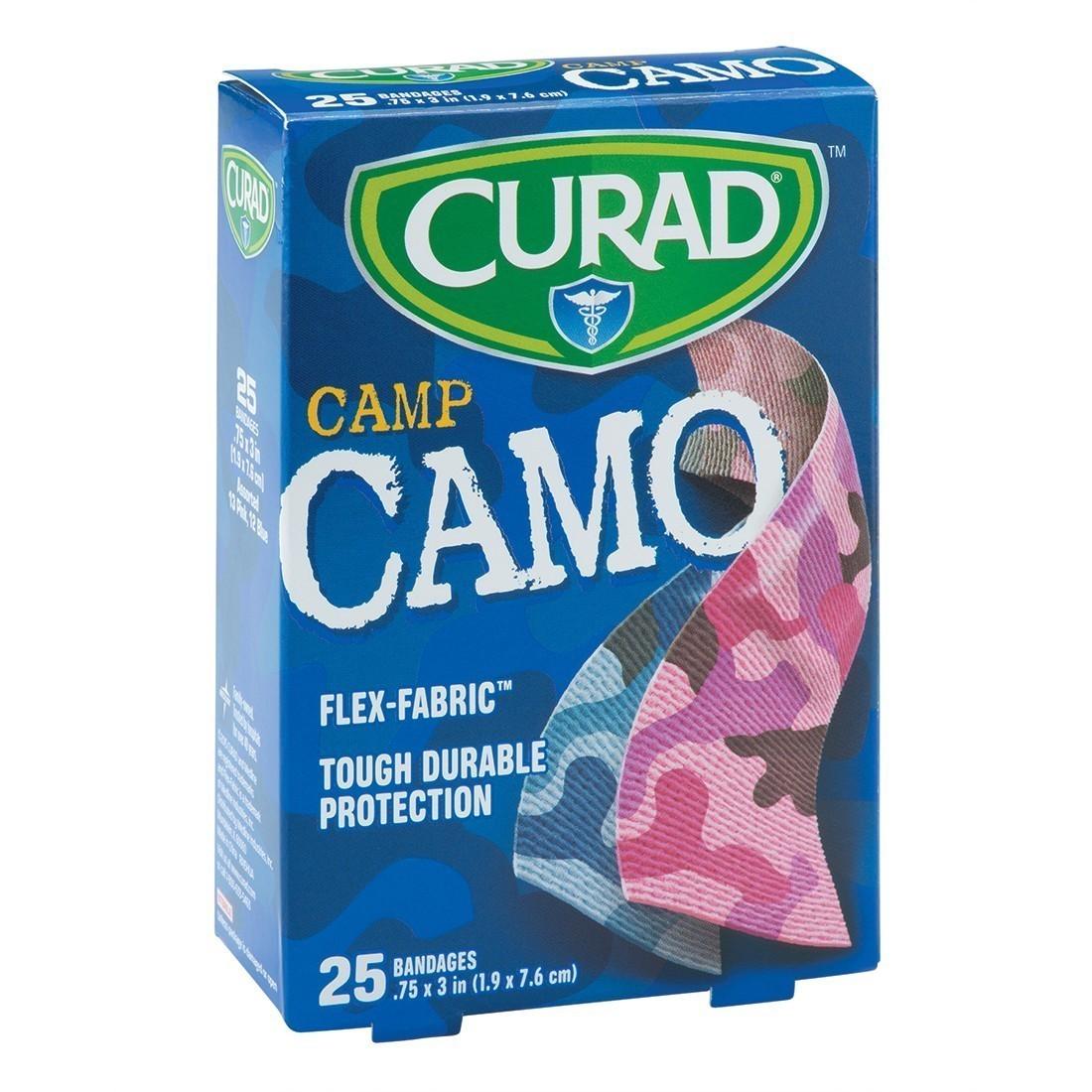 Curad® Pink/Blue Fabric Camo Bandages [image]