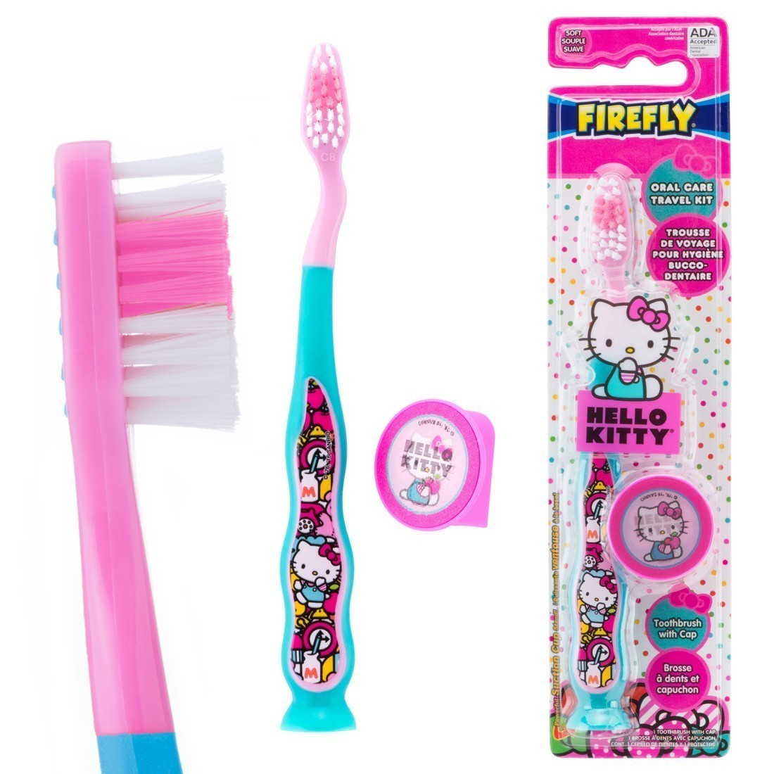Hello Kitty Youth Suction Cup Travel Toothbrushes [image]