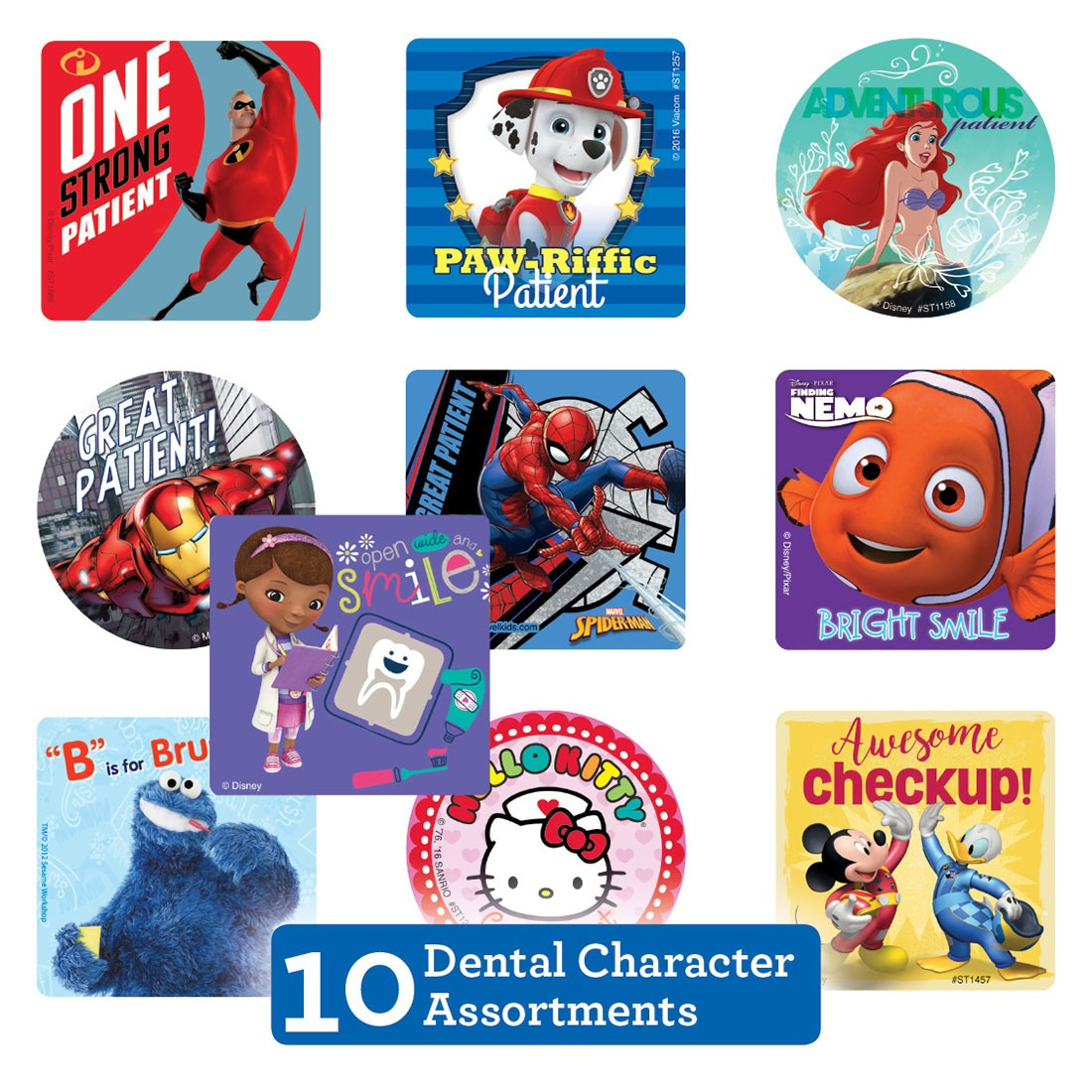 Dental Character Sticker Sampler                   [image]