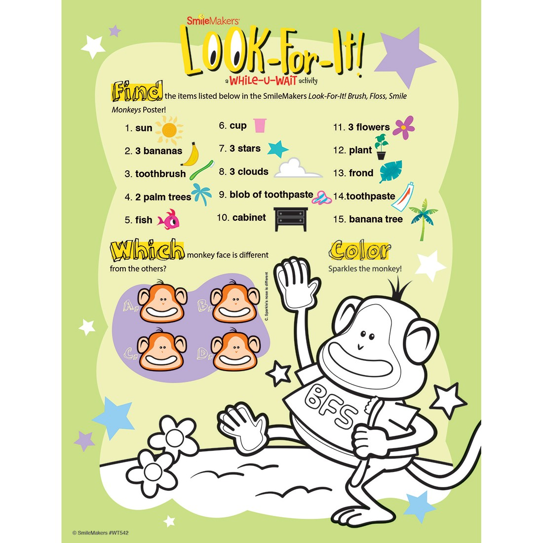 Brush Floss Smile Monkeys Look-For-It Activity Sheets [image]