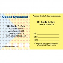 Custom Great Eye Care Dots Sticker Appointment Cards