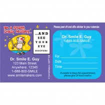 Custom Monkey Eye Chart Sticker Appointment Cards