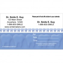 Custom Blue Teeth Sticker Appointment Cards