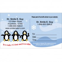 Custom BrushFlossSmile Penguins Appointment Cards