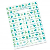 Merry Christmas Blue and Green Scatter Print Bags