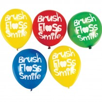 Brush, Floss, Smile Latex Balloons